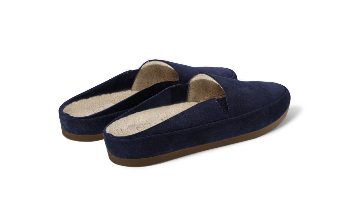 designer fashion coupon codes size 7 Men's Navy Blue Open-Heel Slipper   Suede Backless House Shoe   Gift