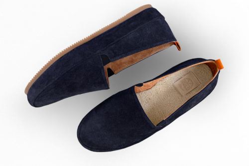 MULO shoes | Navy Blue Suede Slipper Shearling Lined House Shoe