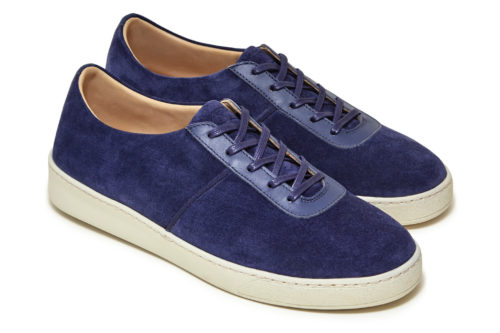 Blue Suede Lace-Up Sneakers for Men