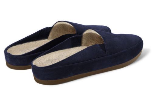 Blue Slippers in Navy Suede