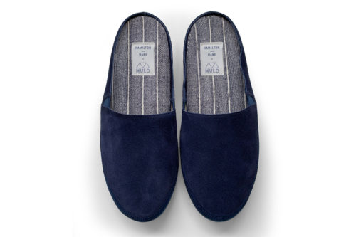 MULO x Hamilton and Hare | Navy Suede Backless Slippers | Limited Edition
