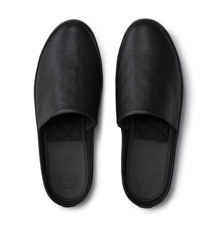Black Slippers for Men in Leather