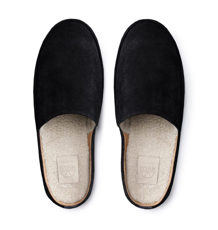 Black Mens Slippers in Waxed Suede