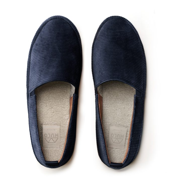Mens Designer Slippers in Blue Corduroy