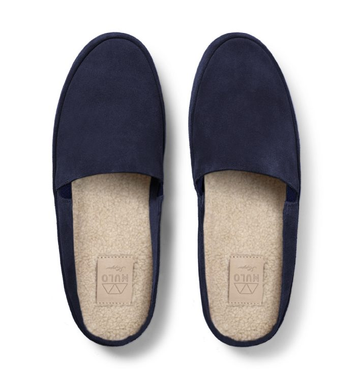 Luxury Navy Slippers in Suede