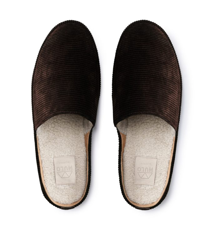 Backless Slippers for Men in Brown Corduroy