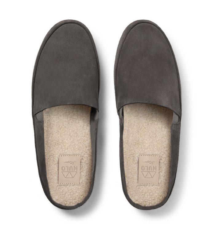 Mens Slippers in Brown Suede