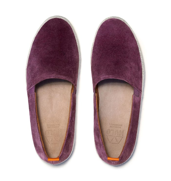 Mens Leather Espadrilles in Burgundy Suede