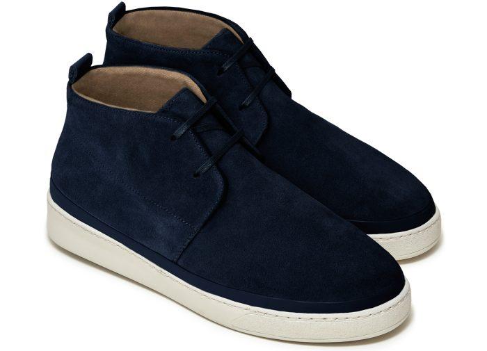 Premium Mens Desert Boots in Dark Blue Suede   MULO shoes