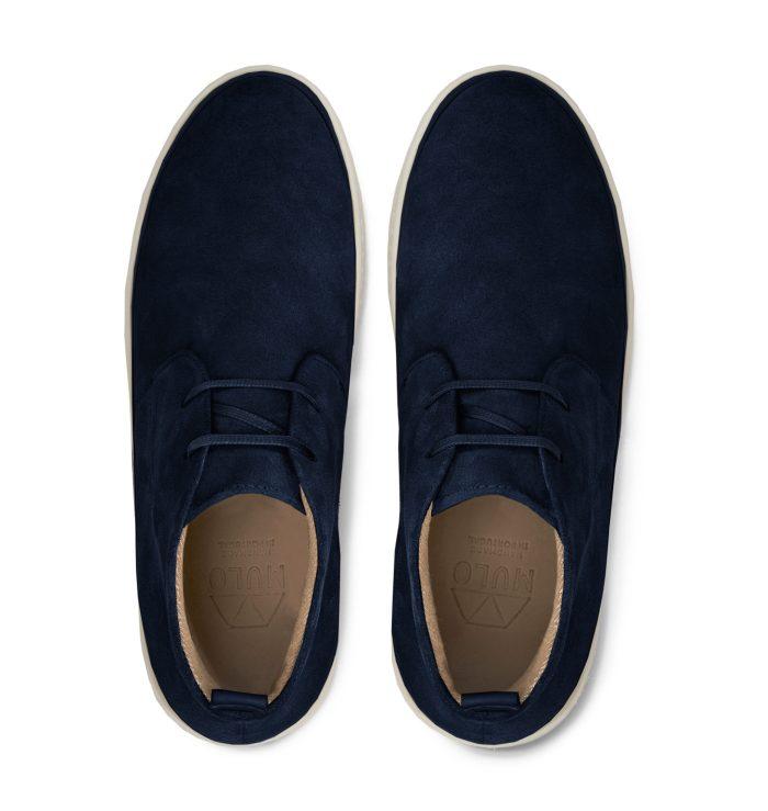Navy Blue Desert Boots for Men in Suede