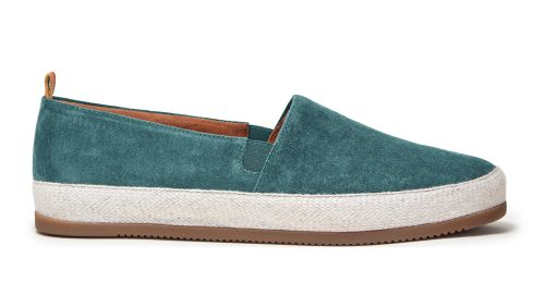 Mens Espadrilles in Petrol Blue Suede