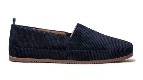 Designer Slippers for Men in Blue Corduroy
