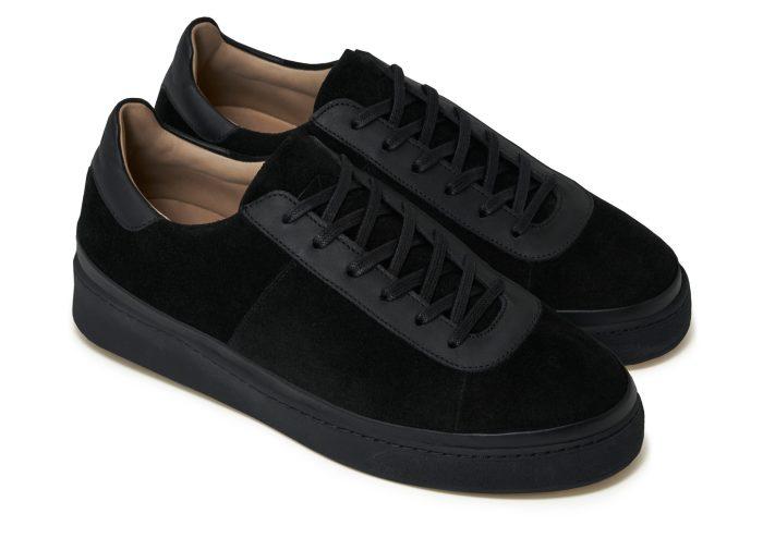 Black Leather Mens Sneakers