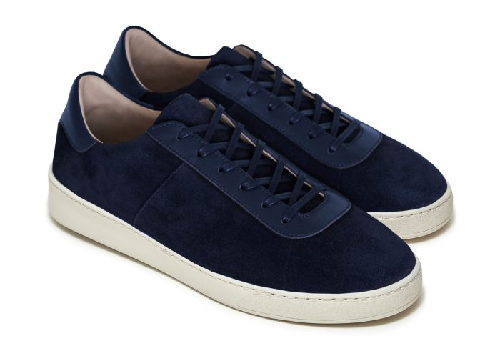Waxed Suede Dark Blue Sneakers for Men