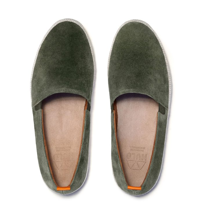 Khaki Green Espadrilles for Men in Navy Suede