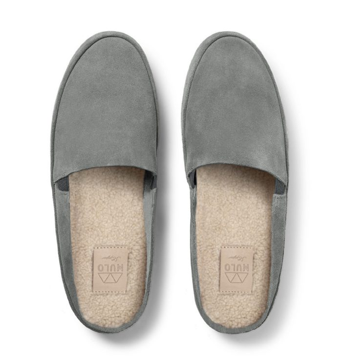 Grey Slip On Slippers for Men in Suede