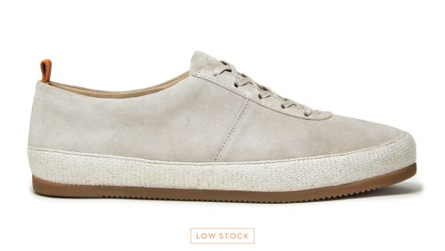 Mens Lace-Up Espadrilles - White Suede