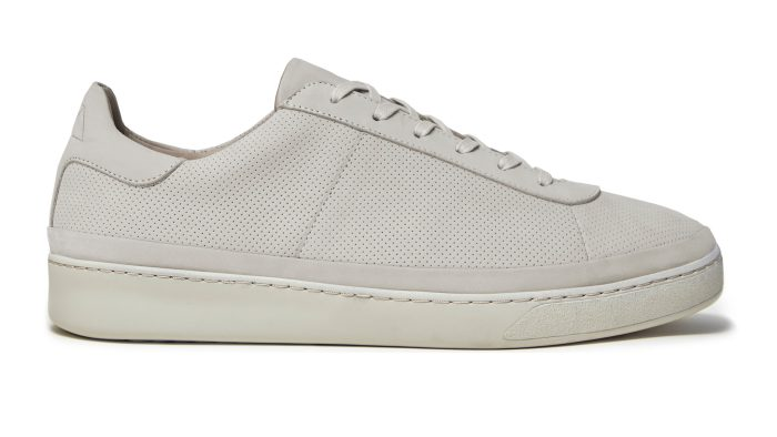 Lace-Up Mens Sneakers in Perforated Off-white Perforated Nubuck