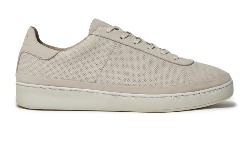 Lace-Up Sneakers for Men in Perforated Off-white Nubuck
