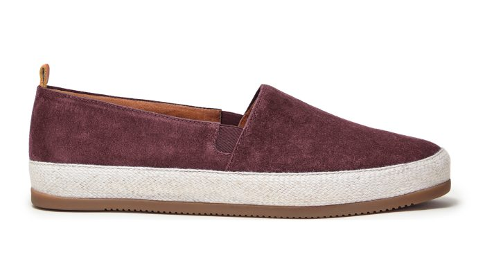 Mens Espadrilles in Burgundy Suede