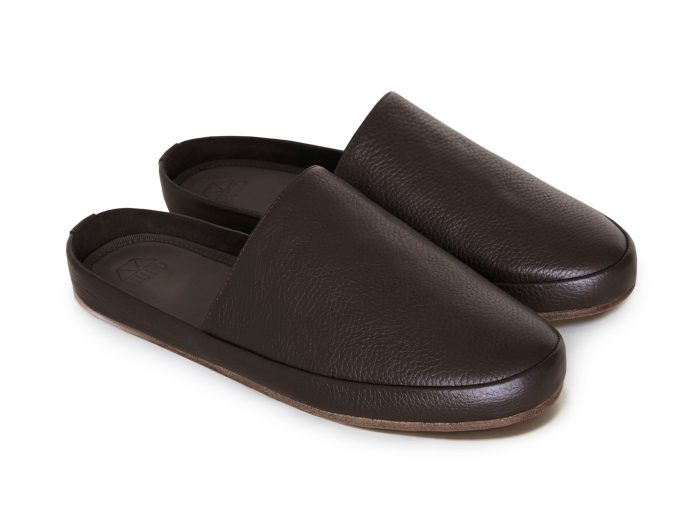 Leather Slippers for Men in Brown