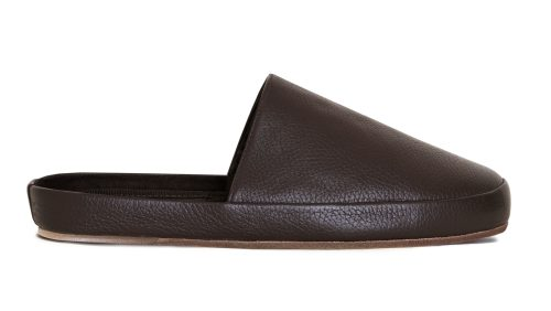 Leather Slippers for Men in Dark Brown