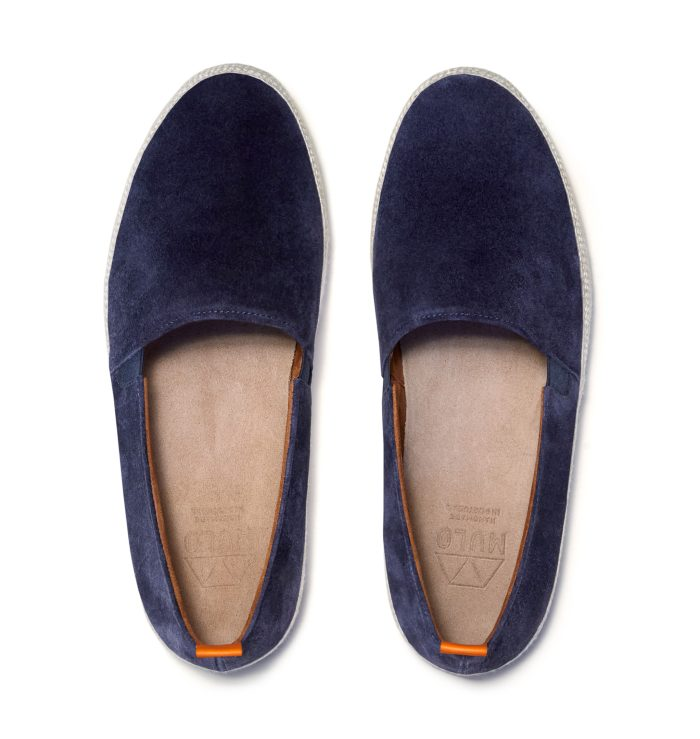 Navy Blue Mens Espadrilles in Suede