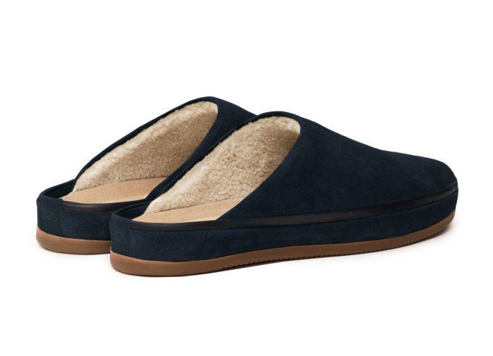 Sheepskin Slippers for Men in Navy Suede