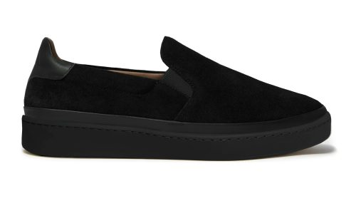 Black Suede Mens Slip-On Sneakers