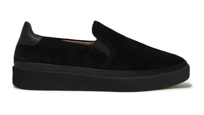 Black Suede Mens Slip-On Sneakers