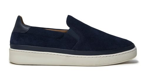 Blue Suede Mens Slip-On Sneakers