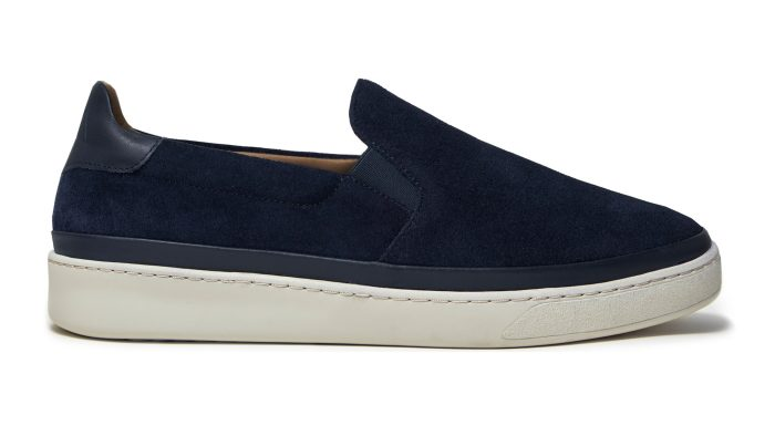 Blue Suede Mens Slip-On Sneakers