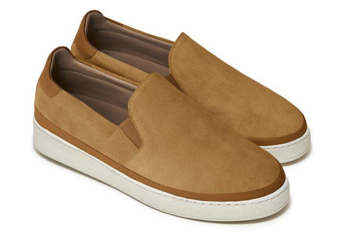 Suede Slip-On Men's Sneakers in Dark Tan