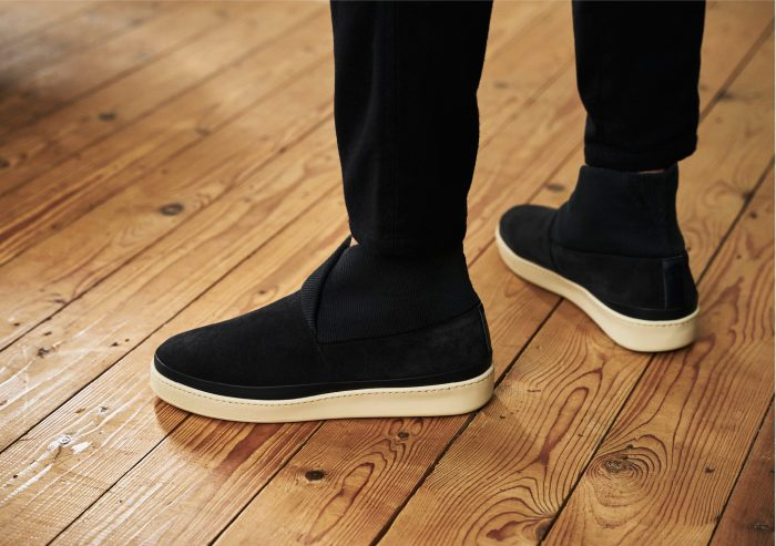 Slipper Boots for Men with Rib Knit Collar