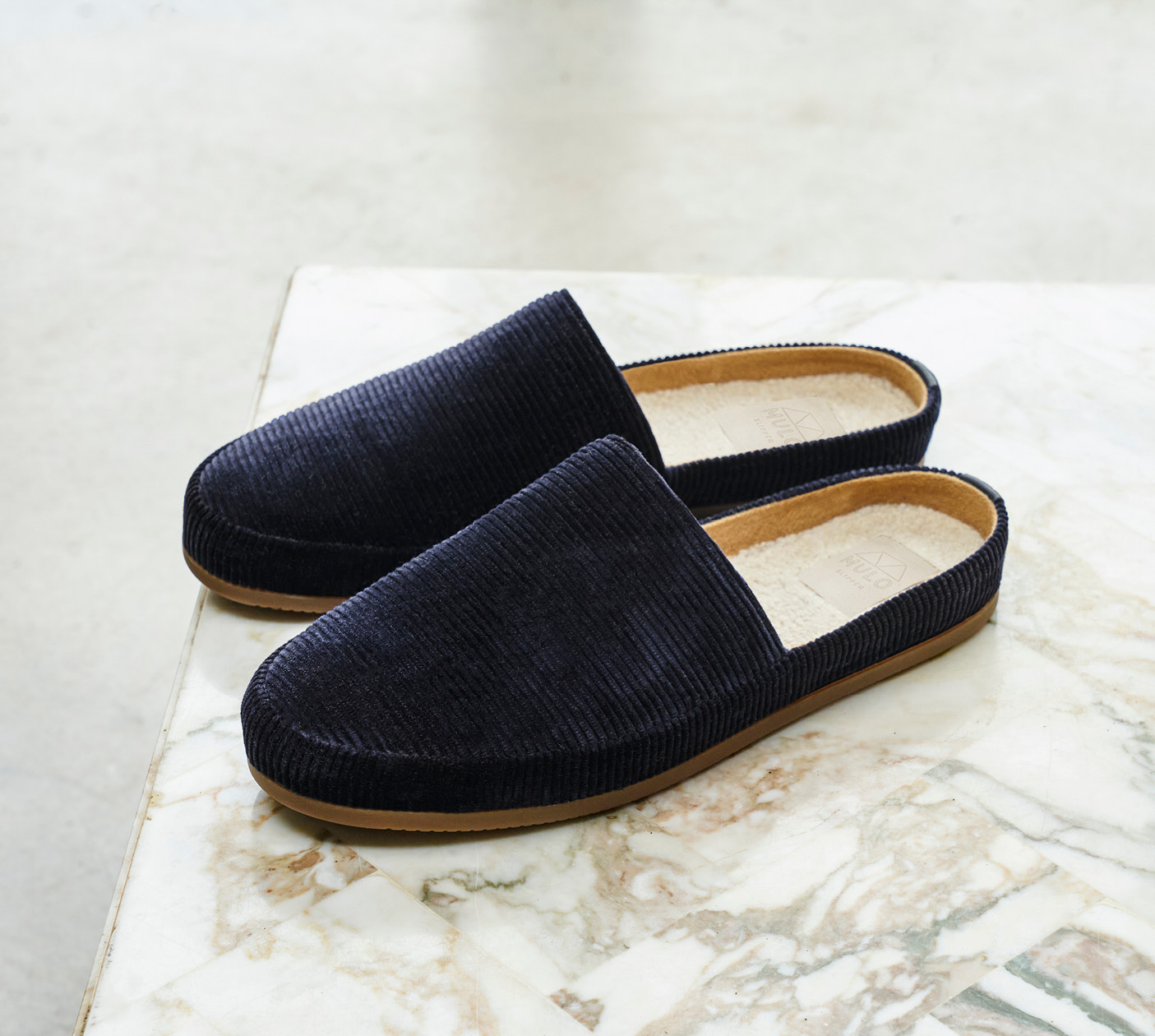 Blue Slippers in Corduroy - Mens Slippers
