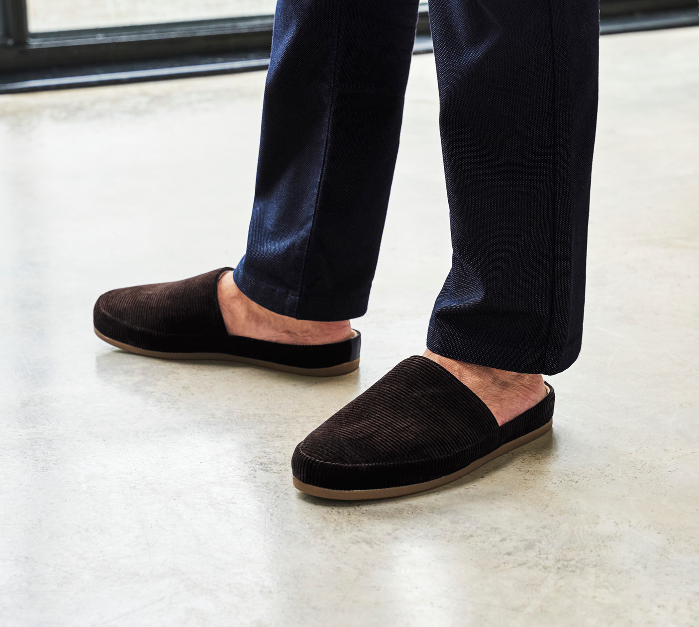 Brown Slippers in Corduroy - Mens Slippers