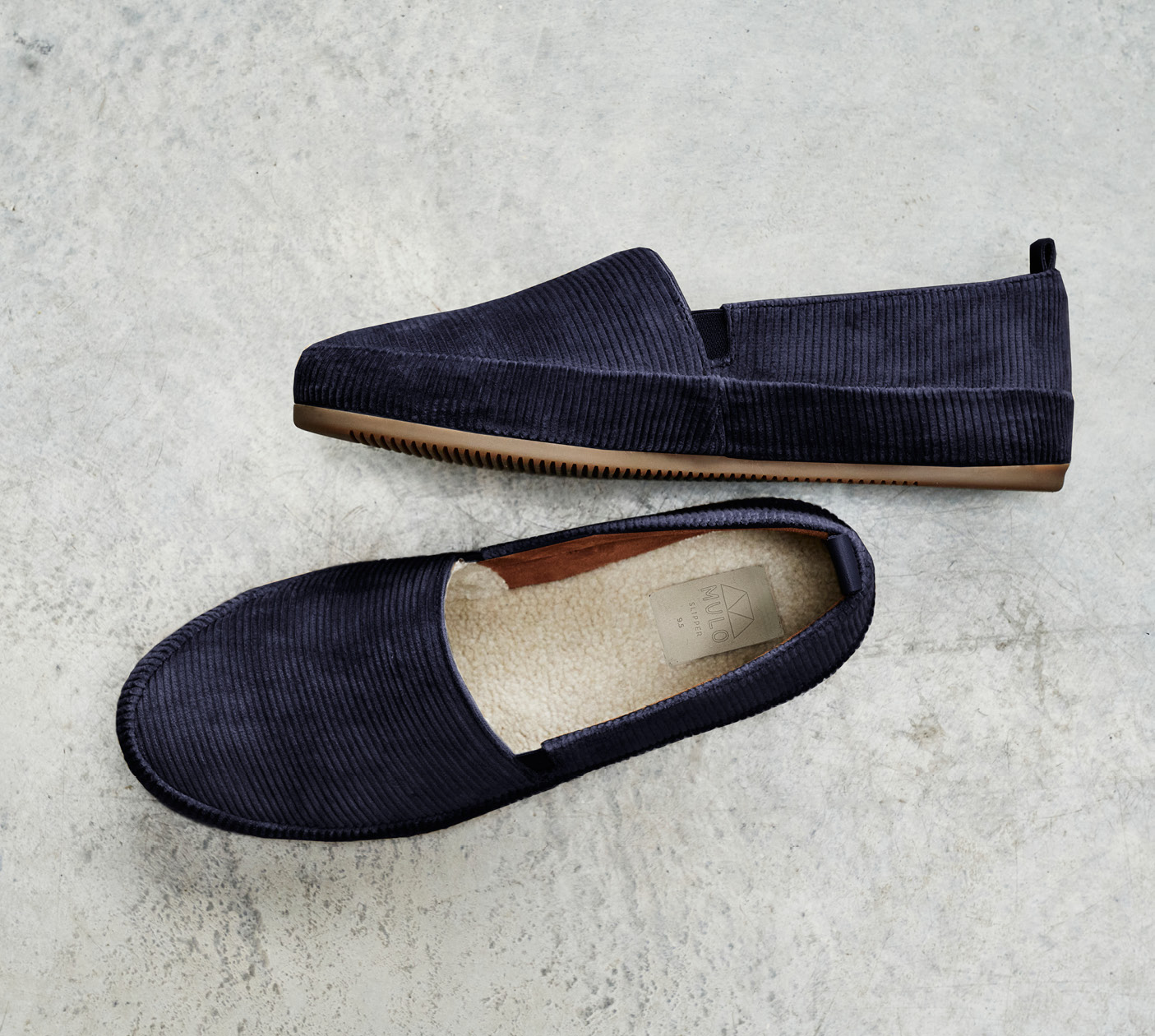 Mens Slippers - Blue Slippers in Corduroy