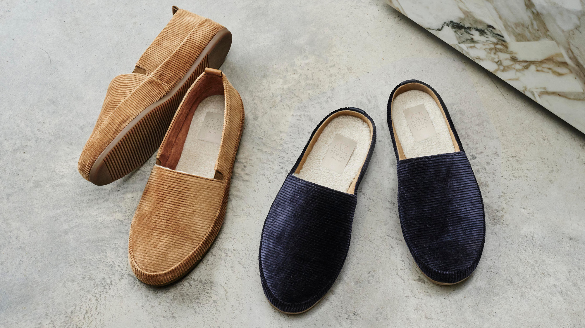 Blue Corduroy Slippers