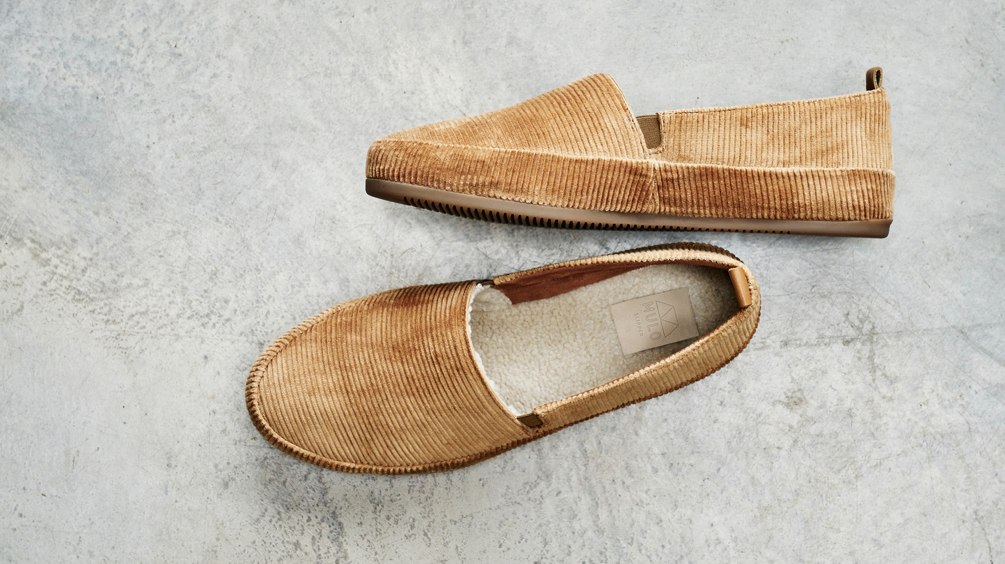 Designer Mens Slippers - House Shoes lined with natural shearling