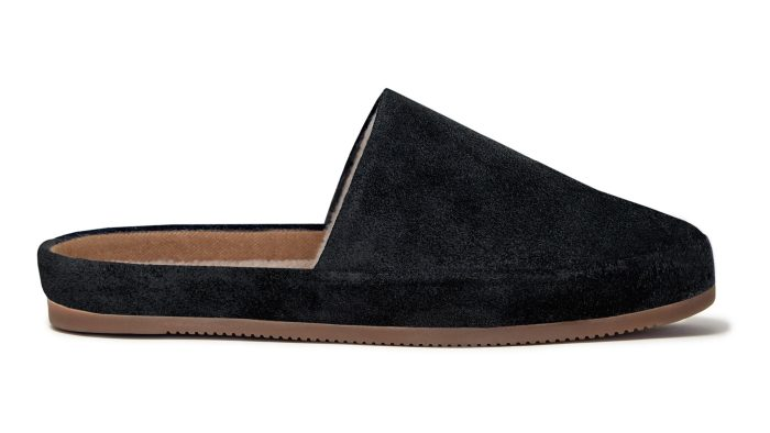 Black Slippers for Men in Waxed Suede