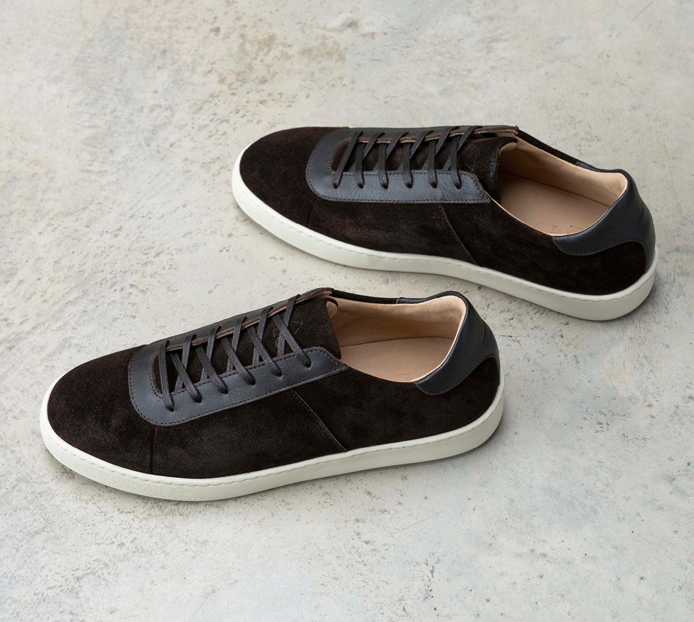 Mens Sneakers - Waxed Suede Brown Sneakers