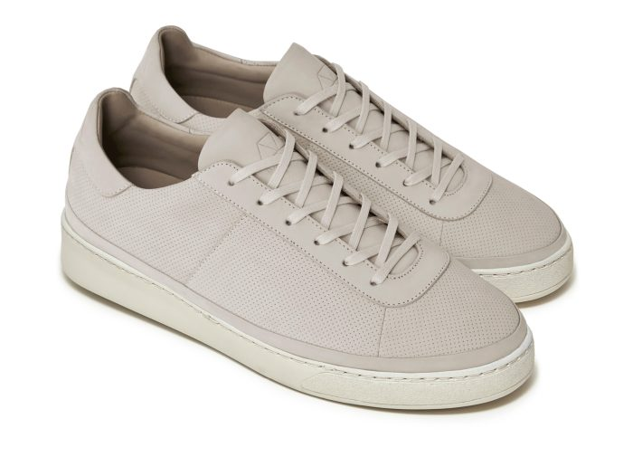 Mens Sneakers Perforated Cream Nubuck Leather