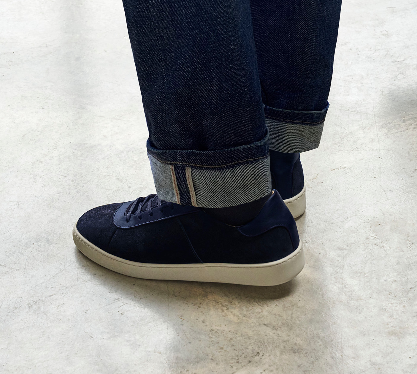 Sneakers for Men - Premium Blue Sneakers in Waxed Suede