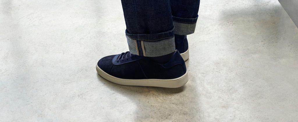 Waxed Suede Blue Sneakers - Mens Sneakers