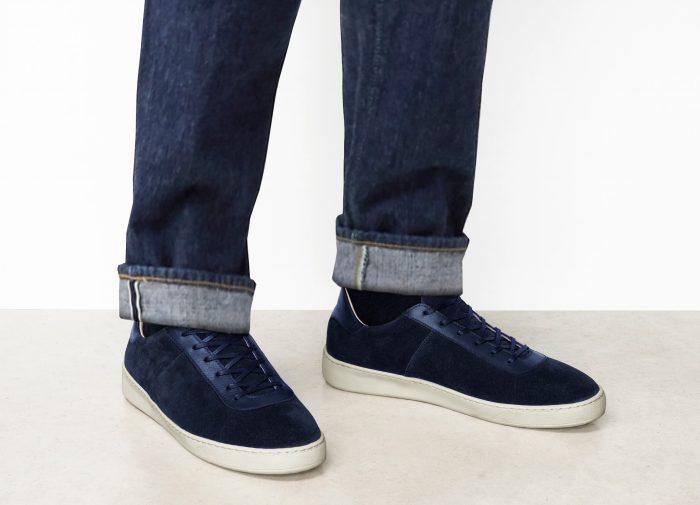 Waxed Suede Dark Blue Sneakers for Men Casual Wear