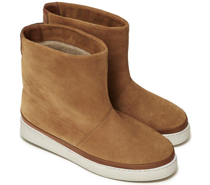 Winter Sheepskin Boots for Men in Dark Tan Waxed Suede