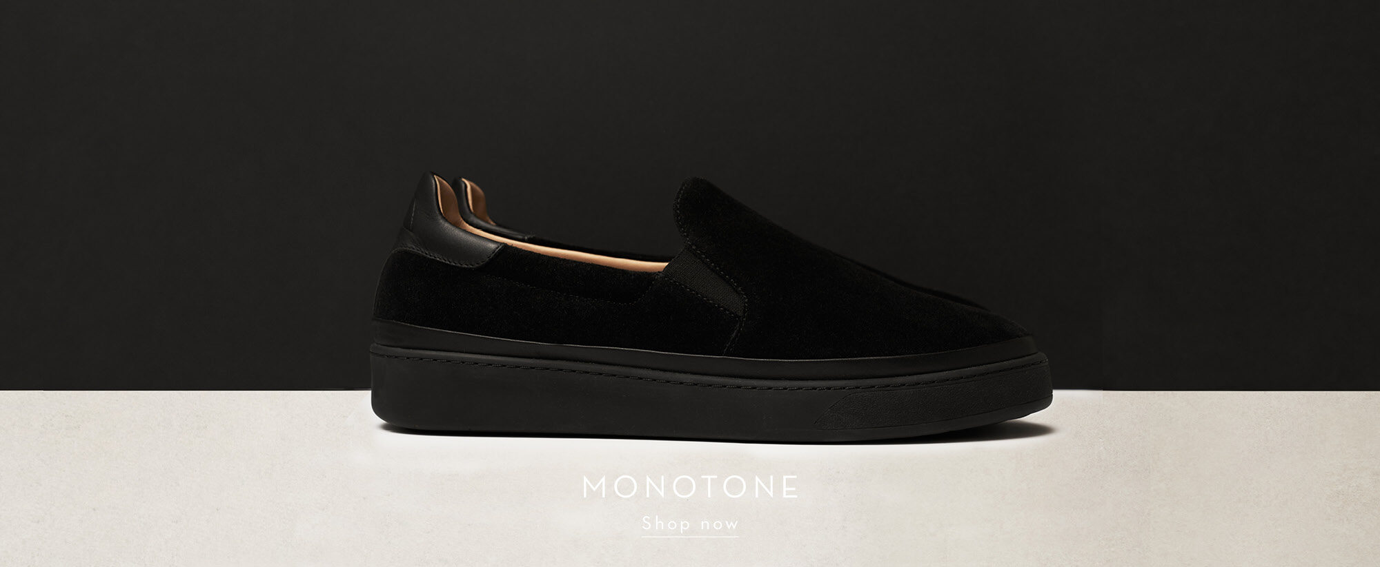 Monotone Mens Shoes - Black Slip-on Mens Sneakers