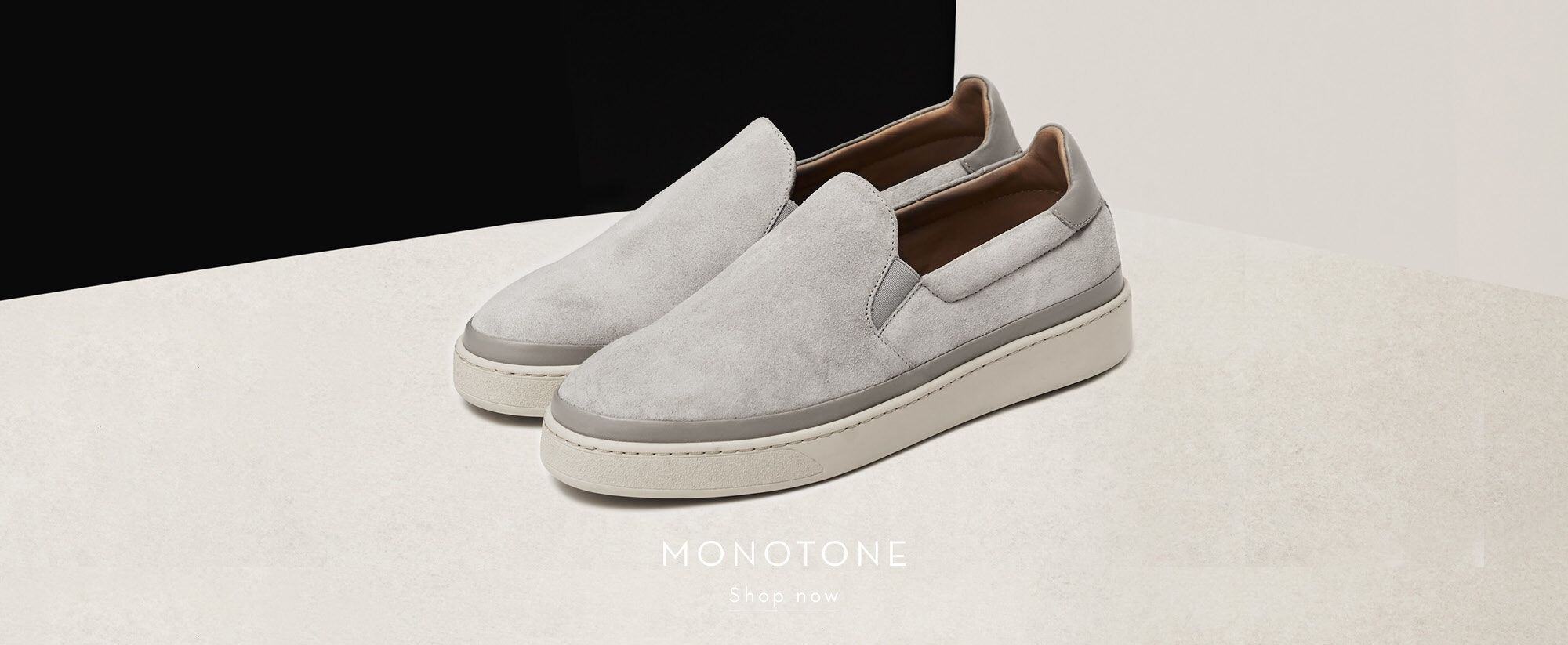 Monotone Mens Shoes - Grey Slip-on Mens Sneakers