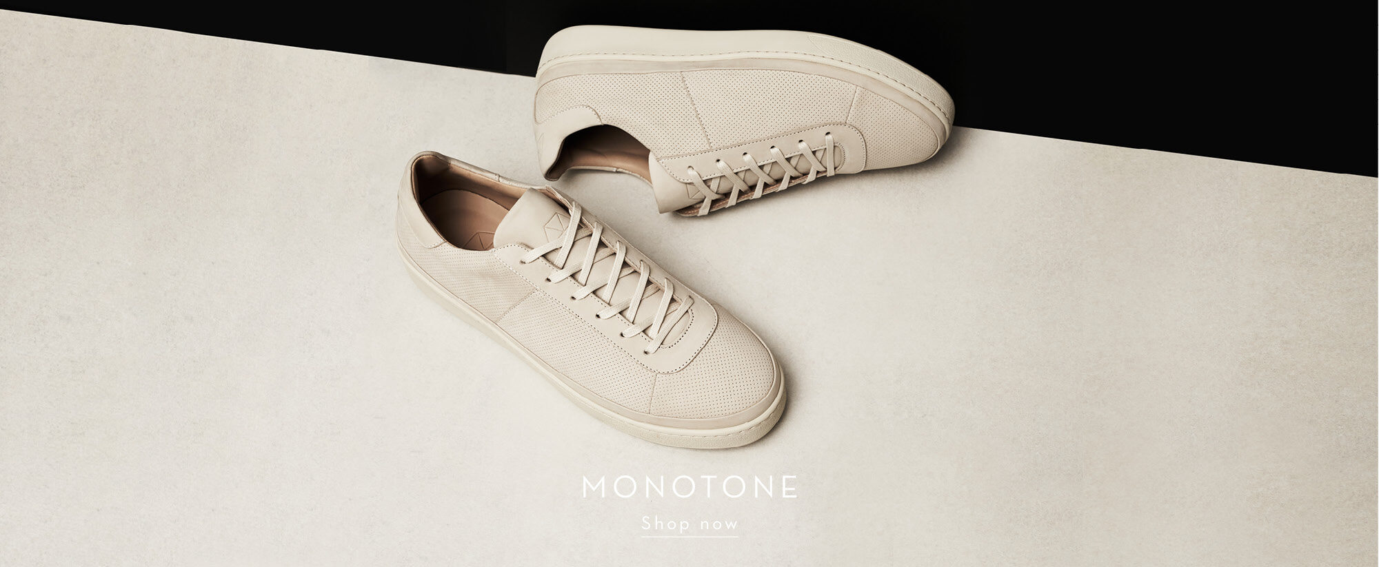 Monotone Mens Shoes - Off-white Perforated Mens Sneakers