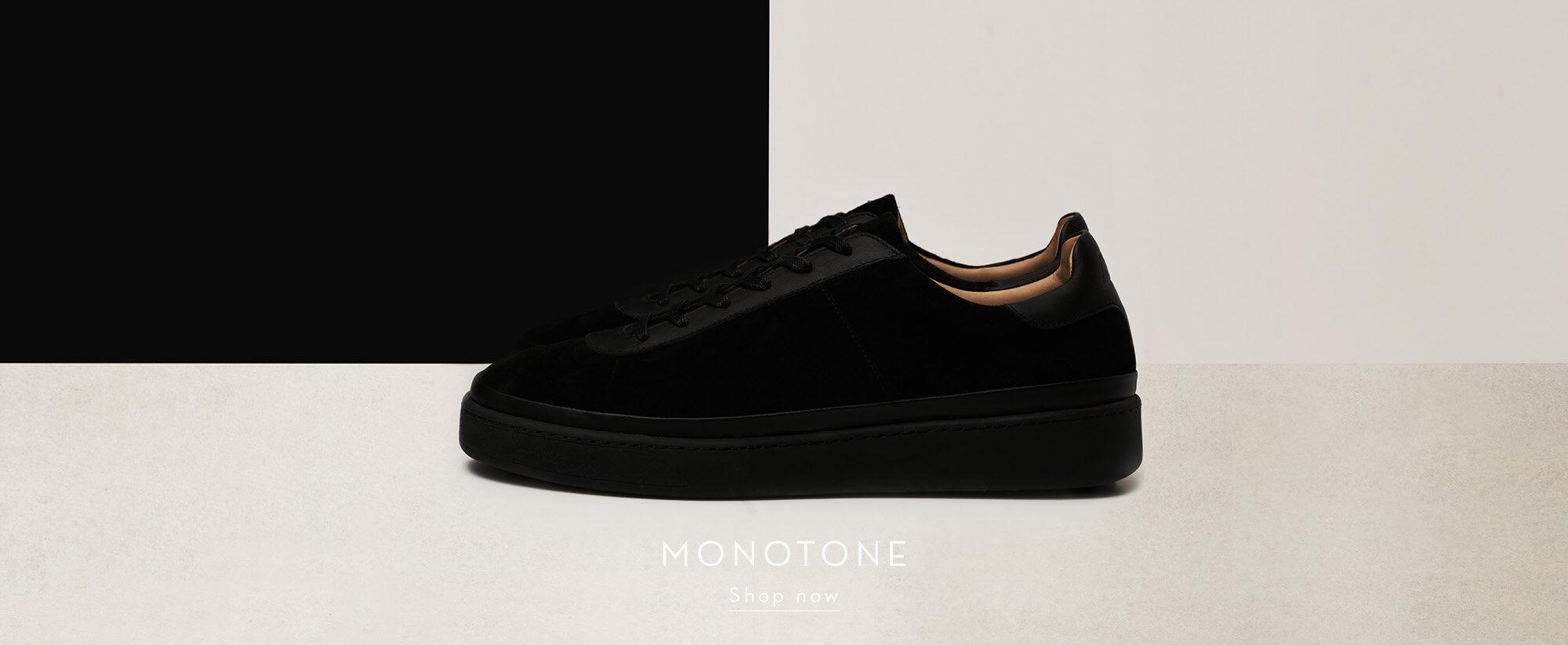 Monotone Mens Shoes - Suede Black Mens Sneakers